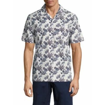 ヴィルブレクイン メンズ カジュアル ボタンダウンシャツ Marine Printed Shirt