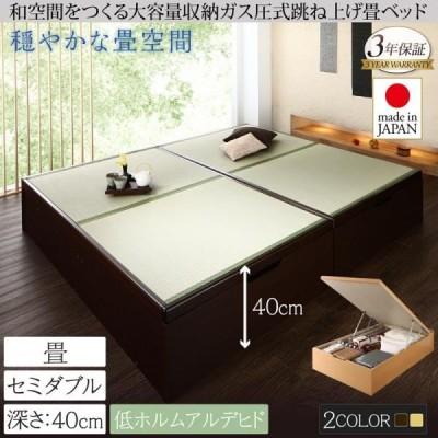ダークブラウン お客様組立 中国産畳 セミダブル 深さラージ くつろぎの和空間をつくる日本製大容量収納ガス圧式跳ね上げ畳ベッド 涼香 リョウカ
