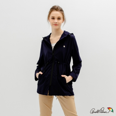 Arnold Palmer -女裝-運動風長版連帽風衣-深藍色