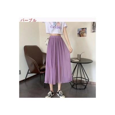 【送料無料】夏 ミディ丈 何でも似合う シフォン プリーツスカート 着やせ ハイ | 346770_A63418-0097891