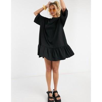 ウィークデイ レディース ワンピース トップス Weekday Erika organic cotton smock dress in black Black