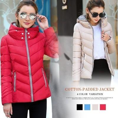 コートレディース厚手中綿ショートジャケットアウター防風、寒お洒落純色可愛いカジュアルあったか冬服おしゃれ