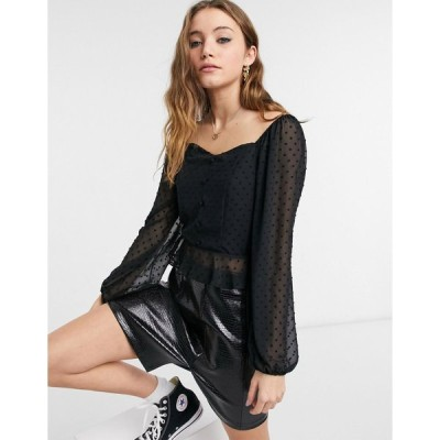 ニュールック おでかけトップス レディース New Look dobby chiffon square neck blouse in black エイソス ASOS ブラック 黒