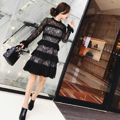 ドレス ワンピース フリル レース 膝丈 シースルーデザイン 大人可愛い オシャレ キュート ガーリー フェミニン OP-033AU
