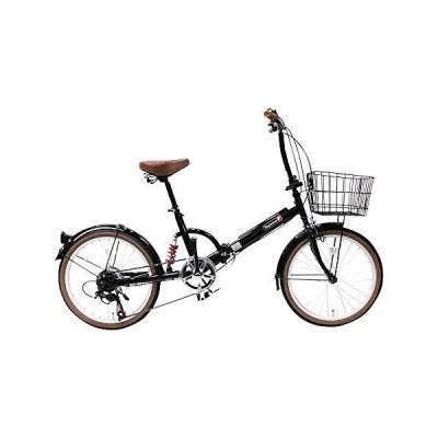トップワン(TOP ONE) 20インチ折畳み自転車 シマノ外装6段ギア リアサスペンション カゴ・カギ・ライト付 ブラッ?
