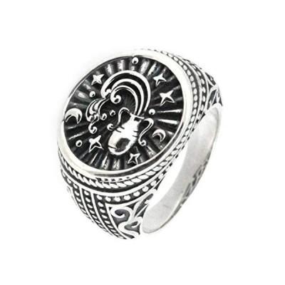 Vintage Style Sterling Silver Aquarius Zodiac Signet Ring並行輸入品 送料無料