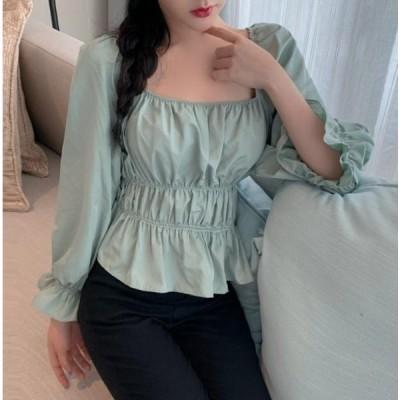 ファッション スクエアネック レトロ ブラウス 大人可愛い 韓国 きれいめ ミントグリーン レディース 長袖 トップス シャーリング 上品