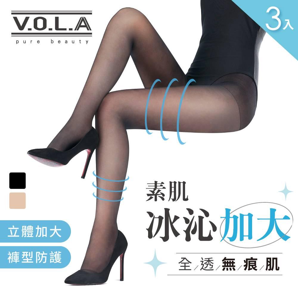 JINYU (3入)加大冰沁褲型絲襪-黑
