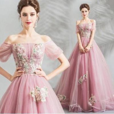 パーティドレス レース マキシ丈 袖あり 五分袖 40代 ピンク 春夏 結婚式 二次会 花刺繍 シースルー フェミニン b299