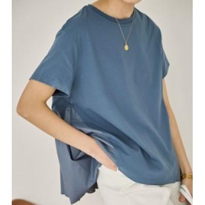 バックプリーツ Tシャツ Tシャツ  綿 ラウンドネック 半袖 ゆったり シンプル お出かけ 春夏 レディース   体型カバー ナチュラル 通勤