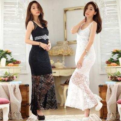 パーティードレス 大きいサイズ ぽっちゃり 結婚式 ワンピース セクシーレースドレス ロングドレス、二次会 F/2L/3L/4L 9663