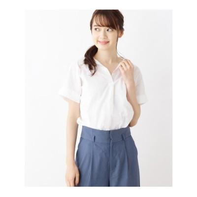 ピンクアドベ pink adobe 綿ローンスキッパーシャツ (オフホワイト)