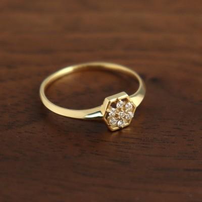 K18 ダイヤモンド 透かし フラワー ゴールドリング 花 雪の結晶 18金 18k ゴールド リング 指輪 六角形 幾何学 天然 レディース