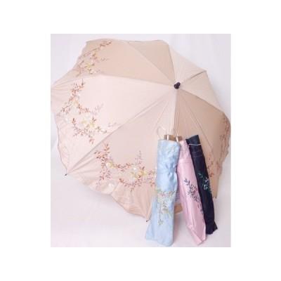 綿サテン 刺繍 晴雨兼用傘 折りたたみ傘