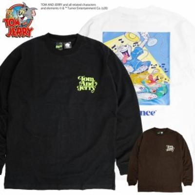 トムとジェリー Tシャツ TOM and JERRY Sequence バックプリント 長袖Tシャツ トム ジェリー イラスト プリント ロンT クルーネック キャ