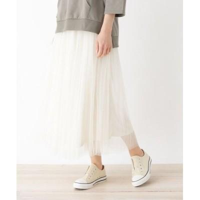 SHOO・LA・RUE/シューラルー 【M-L】チュールプリーツマキシスカート アイボリー(004) 03(L)