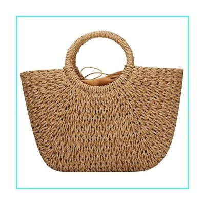 【新品】Straw Bag Weave Handbags Handwoven Summer Beach Bags Hand Tote (Brown)(並行輸入品)