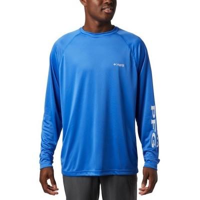 コロンビア Tシャツ トップス メンズ Men's PFG Terminal Tackle Long Sleeve Shirt Vivid Blue, Cool Grey Logo