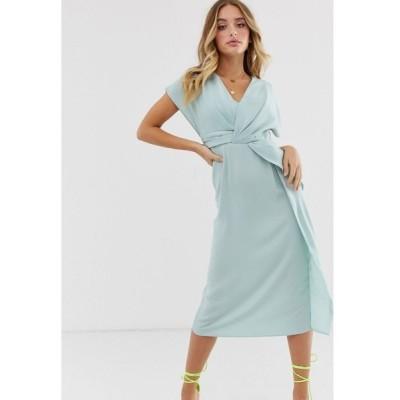 エイソス ASOS DESIGN レディース ワンピース ミドル丈 ワンピース・ドレス twist and drape front midi dress in blue ターコイズブルー