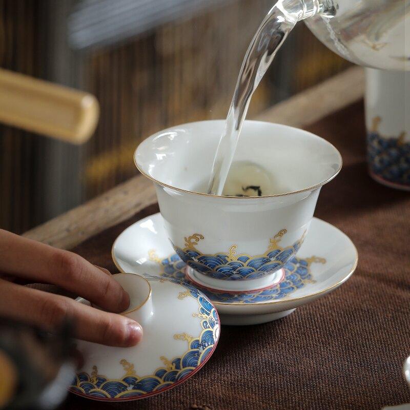 三才蓋碗茶杯茶碗大號白瓷單個泡茶杯陶瓷功夫茶具套裝手抓壺