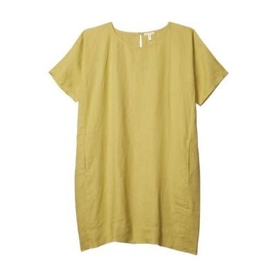 エイリーンフィッシャー レディース ワンピース トップス Round Neck Short Sleeve Dress