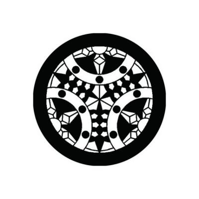 家紋シール 白紋黒地 三つ割り輪宝 布タイプ 直径23mm 6枚セット NS23-1378W