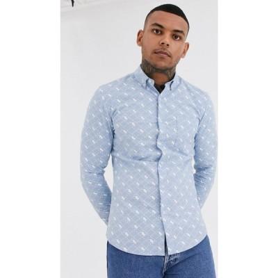 トップマン Topman メンズ シャツ トップス shirt with panther print in blue ブルー