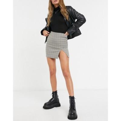 エイソス ASOS DESIGN レディース ミニスカート スカート Split Front Mini Skirt チェック