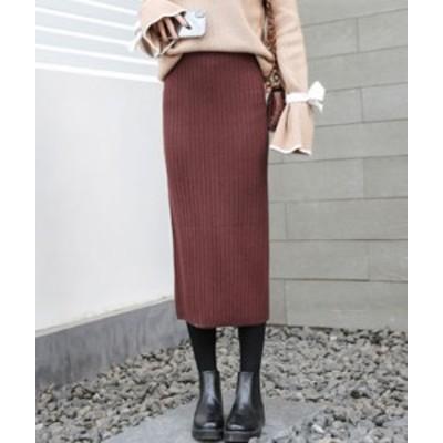 ニット タイト ペンシル スカート レディース ロング 膝丈 ドレス スリット リブ セクシー 大人可愛い 韓国