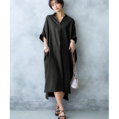 大人の落ち感スキッパードルマンワンピース【ゆったりワンサイズ】 (ワンピース)Dress