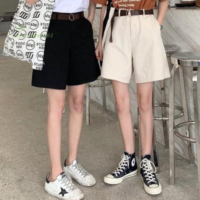 Pantalones Mujer 韓国 カジュアル ショート パンツ 女性 2019 夏新サッシ ストレート ルース Ol ハイウエスト ワイド レッグパンツ ショーツ 黒白 グループ