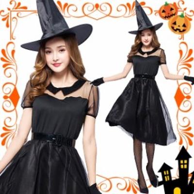 [即納][3サイズ]魔女 コスプレ ハロウィン セクシー 魔法使い ウィッチ デビル 悪魔 ホラー 衣装 4点セット ペア コスチューム
