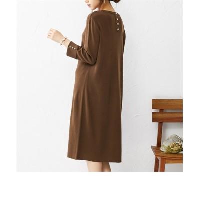 似合う色を着よう!パール調ボタン付総針ニットワンピース(セットアップ対応) (ワンピース)Dress