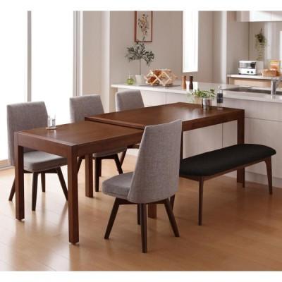 スライド伸縮テーブルダイニング S-free 6点セット テーブル・脚 ブラウン ベンチ ダークグレー チェア4脚 ライトグレー