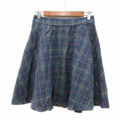 【中古】クチュールブローチ COUTURE BROOCH フレアスカート ひざ丈 チェック ウール 38 青 ブルー /MN レディース