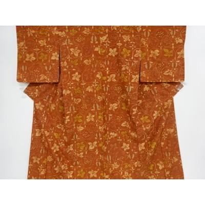 リサイクル 花唐草模様手織り紬着物