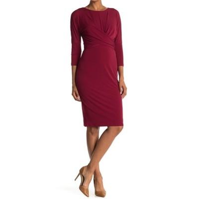 ロンドンタイムス レディース ワンピース トップス Twist Front 3/4 Sleeve Sheath Dress WINE