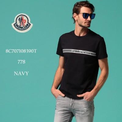 モンクレール メンズ Tシャツ MONCLER ロゴ プリント クルーネック 半袖 ブランド トップス ロゴT ライン MC8C707108390T