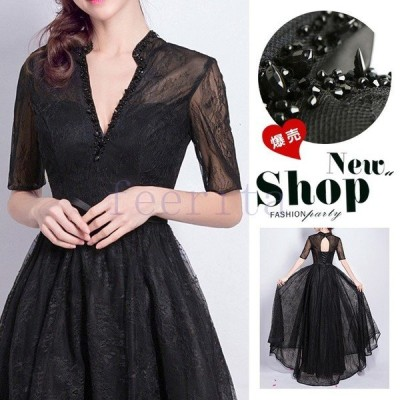 ロングドレス 演奏会 結婚式 母親 結婚式 大きいサイズ ワンピース 黒 ブラック Vネック 半袖 五分袖 ステージドレス 二次会 2次会 パーティー