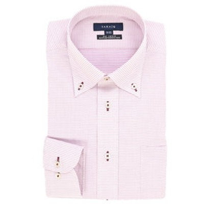 形態安定レギュラーフィットボタンダウン長袖ビジネスドレスシャツ