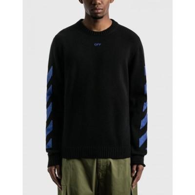 オフホワイト Off-White メンズ スウェット・トレーナー トップス diag knit crewneck Black/Blue