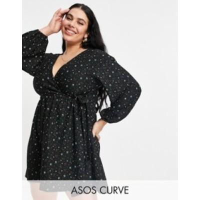 エイソス レディース ワンピース トップス ASOS DESIGN Curve smock oversized mini wrap dress in black flirty floral Black ditsy flo