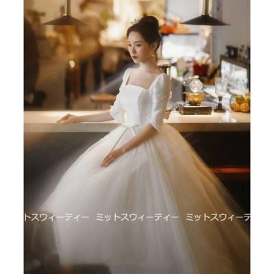 ウェディングドレス 白 結婚式 ロングドレス aラインドレス チュール ウエディングドレス 二次会 シンプル 花嫁 パーティードレス 披露宴 ブライダル 前撮り