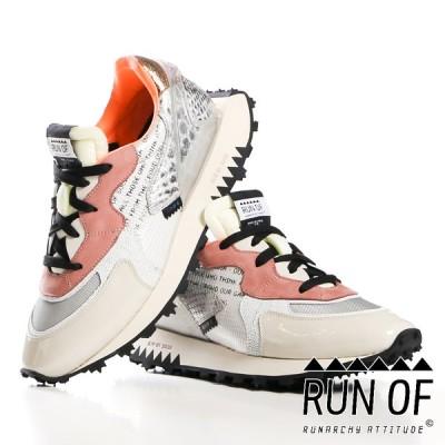 【RUN OF/ラン オブ】Lowcut Sneaker / NASA SNAKE / ダッドスニーカー / ホワイト / RUN07