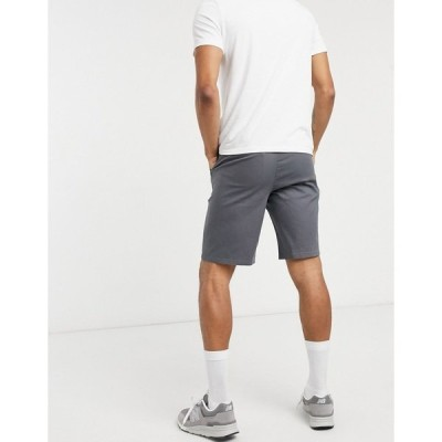 エイソス メンズ カジュアルパンツ ボトムス ASOS DESIGN relaxed skater chino shorts in dark gray IRON GATE