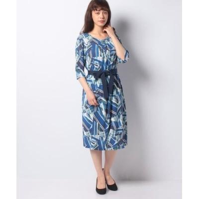 LAPINE BLANCHE/ラピーヌ ブランシュ ジョイクール シャドー幾何柄プリントドレス ブルー 38