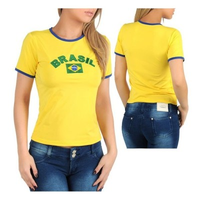 SANNA'S ブラジル 半袖 リンガー Tシャツ・イエロー /黄色 日本製
