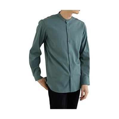 [ラッキーチャーム] (ブルーグリーン, L) ストレッチ バンドカラー シャツ メンズ カジュアル 長袖 レギュラーフィット メンズシャツ 長袖シャ