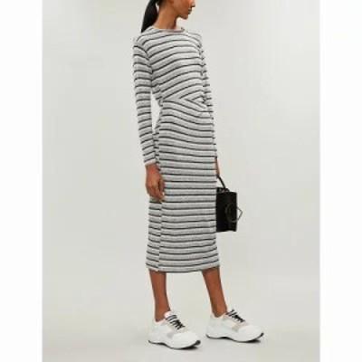 トップショップ ワンピース striped ruched-waistband stretch-knit dress Grey
