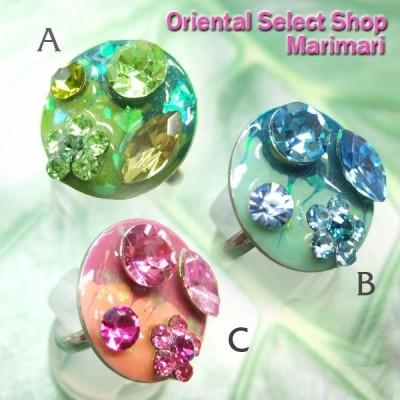 リング 指輪 七宝焼き風 花 コスチュームリング 螺鈿みたいな蝶貝が!? SLV×ピンク  水色;コッパー×オリーブ  フリーサイズ